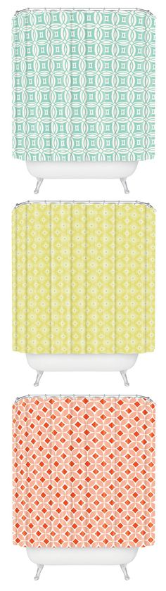 Such cute shower curtains! Love the colors, pastel yellow, mint, and coral!