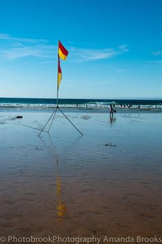 Red and yellow flags. RNLI