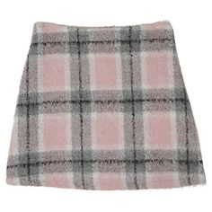 Woolen Check Print Skirt (€31) ❤ liked on Polyvore featuring skirts, bottoms, clothing - skirts, checkered skirt, wool skirt, woolen skirt, checked skirt and checkerboard skirt