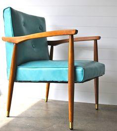 Teal aqua blue mid century armchair wood and vinyl