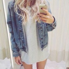 #casual #summer #dress #day #denim #jacket