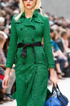 """""""Lace in color for trenches and dresses."""" Burberry Prorsum Spring 2013 RTW"""