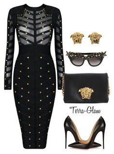 """Mad About Medusa"" by terra-glam ❤ liked on Polyvore featuring Versace, Christian Louboutin, Anna-Karin Karlsson, women's clothing, women, female, woman, misses and juniors"