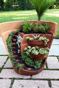this dish garden has a half broken pot that looks like stares and can be used as a decoration outside during the warm weather