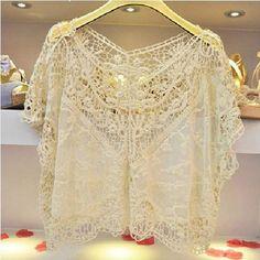 beautiful crochet half top.to be worn over blouse.very feminine - $19