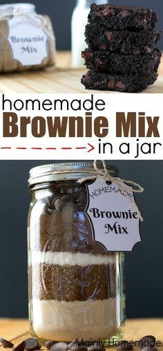 Give the gift of making memories with easy homemade brownie mix in a jar. Easy to make, plus free gift tags and more brownie recipes. Mason Jar Meals, Mason Jar Gifts, Meals In A Jar, Mason Jar Diy, Gift Jars, Diy Gifts In A Jar, Brownies In A Jar, Best Brownies, Homemade Brownie Mix