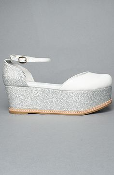 Jeffrey Campbell Flatform SueBee in White/Silver Glitter.  Ltd sizes + none are mine! #shoes #gifts #wedding $85