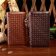 8e4c6e77ca96 Mens wallet leather genuine new men s leather wallet casual woven handle bag  head layer leather vertical version of long wallet