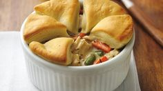Chicken Pot Pie with Biscuits. Simmer a filling of tender vegetables and juicy chicken chunks, bake with flaky biscuits on top, and wow them with a dinner Chicken Pot Pie Recipe With Biscuits, Biscuit Recipe, Chicken Recipes, Chicken Potpie, Chicken Dumplings, Chicken Meals, Recipe Chicken, Individual Chicken Pot Pies, Chicken Chunks