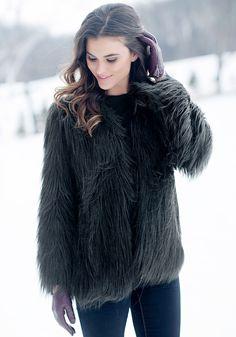 Black Goat Collarless Faux Fur Jacket | Fabulous-Furs $199.00