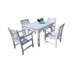 Vifah Bradley Eco-friendly 5 Piece Outdoor White Hardwood Dining Set... ($679) ❤ liked on Polyvore featuring home, outdoors, patio furniture, outdoor patio sets, white, 5 piece outdoor dining set, outdoor dining table set, white dining table set, 5pc dining set and outdoor table and chairs