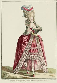 "A Most Beguiling Accomplishment: Galerie des Modes, 9e Cahier, 2e Figure (1778). Caption & long description translated by @Cassidy. ""Elegant lady in informal gown of striped Indian Taffeta... Informal gown of striped Indian taffeta, trimmed in poufs of striped gauze; sleeves en pagode, with bonshommes; very high volante, headed with a trim similar to that of the gown, and with another band of it placed en barriere above the volante. Black taffeta mantelet, with the ends of the hood coming to..."""