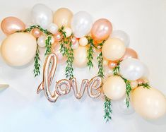 Rose Gold Gold Chrome Peach Latex Balloons, Peach and Rose Gold Bridal Shower, Rose Gold Wedding, Gold Chrome Latex, Rose Gold Blush Peach Balloon Arch Diy, Ballon Arch, Deco Ballon, Love Balloon, Balloon Garland, Balloon Ideas, Bridal Shower Balloons, Gold Bridal Showers, Bridal Shower Party