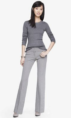 MICRO CHECK WIDE WAISTBAND FLARE EDITOR PANT | Express