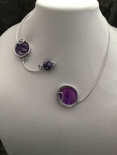 Your place to buy and sell all things handmade Purple Necklace, Purple Jewelry, Wire Necklace, Wire Wrapped Necklace, Black Jewelry, Black Necklace, Collar Necklace, Modern Jewelry, Bride Earrings