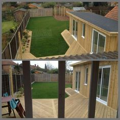 Modern garden with summer house and timber decking.