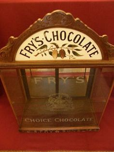 Antique Frys Chocolate shop display case advertising cabinet,rare larger size