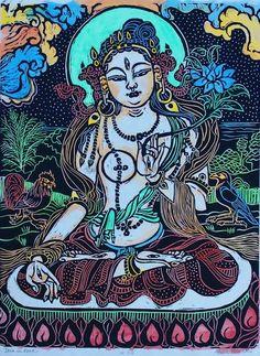 Tara in Kona with blue lotus, mokuhanga woodblock watercolor painting Goddess Compassion Tara, White Tara meditation dharma yoga FaithStone Domino Art, Stone Lion, Thangka Painting, Blue Lotus, Paper Artwork, Watercolor And Ink, Watercolor Painting, Hindu Art, Buddhist Art