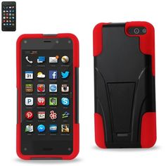 Reiko Silicon Case+Protector Cover Amazon Fire Phone New Type Kickstand Red Black