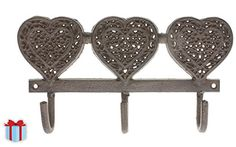 Decorative Wall Hooks - Decorative Cast Iron Wall Hook for Coats, Hats, Keys, or Key Holder - Vintage Design Hanger with 3 Hooks - Wall Mounted - x with Screws and Anchors Wall Hook Rack, Wall Racks, Wall Hanger, Decorative Wall Hooks, Gardening Apron, Vintage Heart, Iron Wall, Vintage Ornaments, Metal Walls
