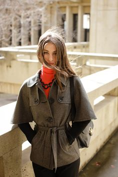 Herringbone Evanston Coat: autumn layering