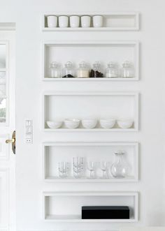 Shadow Shelves idea. Looks pretty easy to duplicate. The trick here, will be properly mounting the shelves to studs as shown in the inspiration photo.