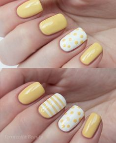 Summer yellow dots stripes nail design.
