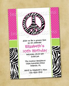 Zebra Peace Sign Birthday Invitations / by InvitingExpressions, $19.50