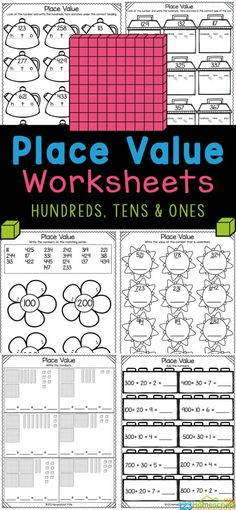As children continue on in math they will encounter numbers with ones, tens, and hundreds place value. These free printable hundreds tens and ones worksheets are a handy, no prep math worksheets to reinforce this important concept for first grade and 2nd graders to understand. Using these hundreds tens and units worksheets allow children to reinforce this new skill. Simply printplace value worksheets for 1st graders and you are ready to play and learn! Tens And Ones Worksheets, Place Value Worksheets, Math Worksheets, Educational Activities, Activities For Kids, Tens And Units, Print Place, Place Values, Ready To Play