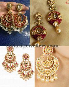 Jewellery Designs: Kundan Jadatar Chandbalis