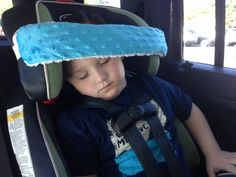 HEAD PILLOW/SUPPORT BAND: Does Your childs head slump or nod forward while napping in a car seat? If Yes, Try a NoNod Head pillow/support band!!!  This