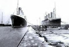 RMS Olympic on left, RMS Titanic on right, 1912