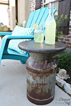 Milk Can Side Table – A Diamond in the Stuff Porch Table, Patio Side Table, Diy Table, Rustic Outdoor Side Tables, Country Decor, Rustic Decor, Farmhouse Decor, Milk Can Table, Milk Can Decor
