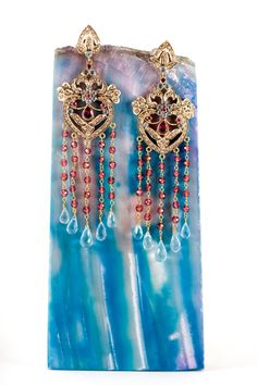 Items similar to White Yellow Gold Diamond Bollywood Purple Blue Amethyst Aquamarine Chandelier Earrings Mughal Victorian Amrapali Fine Indian Jewelry on Etsy Mughal Jewelry, Ethnic Jewelry, Indian Jewelry, Jewellery, Chandelier Earrings, Drop Earrings, All That Glitters, Blue Sapphire, Herb