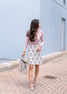 Pink   Gray // Printed Skirt   Suede Lace Up Pumps