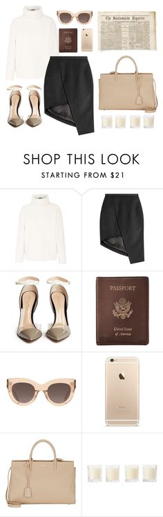 """""""The Sacramento Reporter"""" by nicolekiddzoo ❤ liked on Polyvore featuring Theory, Thierry Mugler, Gianvito Rossi, Royce Leather, CÉLINE, Yves Saint Laurent, Shabby Chic, women's clothing, women and female"""