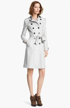 Burberry Belted Double Breasted Wool Coat in White (trench)   Lyst