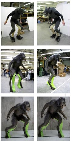 This is such impressive work! This werewolf from Cabin in the Woods is powered by a human inside the suit, made to look like he is walking on his toes, much like a real wolf. The green human legs will be erased digitally later. I love when they do this!