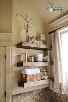 DIY Floating Shelves Supply List for 3 Shelves 1 – 1″ x 10″ x 8′ pine or whitewood board 2 – 2″ x 3″ x 8′ pine or whitewood board 1/4″ hardwood plywood material – I bought a 4′ x 4′ sheet and had Home Depot rip mine into 9.25″ strips. 3 – 1″ x 4″ x 6′ select pine or whitewood boards brad nailer Kreg Jig (optional and totally recommended) 2.5″ pocket hole screws 3.5″ torx or wood screws Gorilla Wood Glue