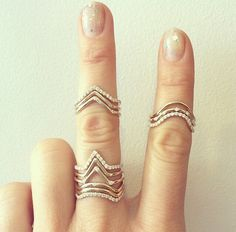 silver stackable rings.