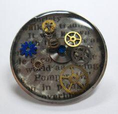 Renewal: Blue Steampunk Newspaper Resin Brooch  Watch Case by wiggelhevin, $21.00