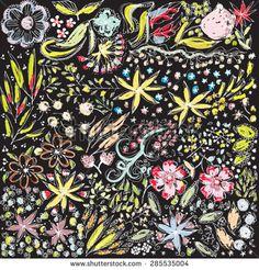 hand drawn flowers black