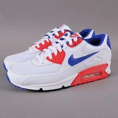 Nike Air Max 90 Essential – White/Hype Blue/Hyper Red