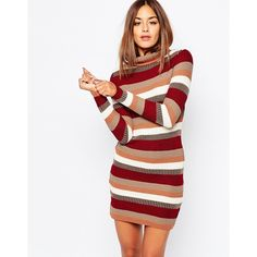 Missguided Stripe Roll Neck Dress featuring polyvore, fashion, clothing, dresses, multi, white stripe dress, missguided dress, bodycon dress, body conscious dress and white dress