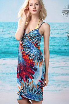 1954bdd9e696 Cheap Flaming Fireworks Front Beach Cover-up Blue online - All Products