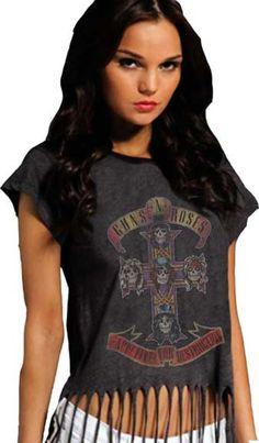 Guns N Roses Tour 1991 Reissue Girls Juniors Black T Shirt
