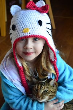We know you'll love this adorable Hello Kitty Crochet Hat!  It's an easy FREE Pattern and you'll love the results!