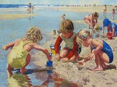 Children playing at the beach by artist Robert Sarsony