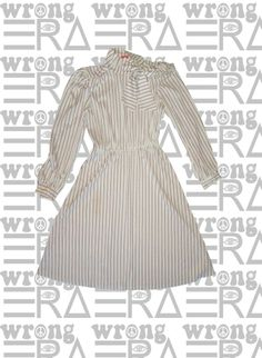 1970s striped dress with neck bow