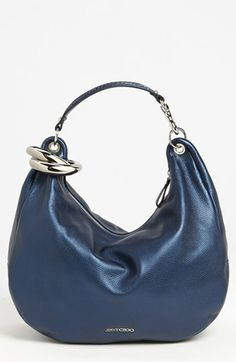 Jimmy Choo 'Solar - Large' Pearlized Metallic Leather Hobo available at #Nordstrom